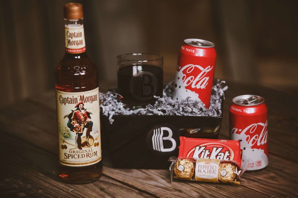 The BroBasket - Gift Baskets for men - Rum and coke gift - captain morgan gifts - rum gifts