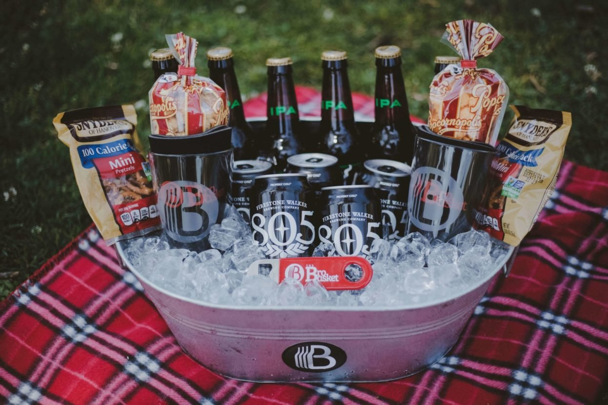 The BroBasket - Amazing Gifts for Men - Craft Beer Gifts - Beer Gifts - Stone IPA Gifts - Firestone 805 Gifts