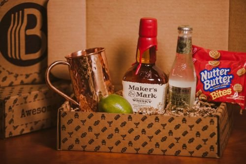 The BroBasket - Gift Baskets for men - kentucky mule gift basket - makers mark gift - makers mark whiskey gift - copper mug