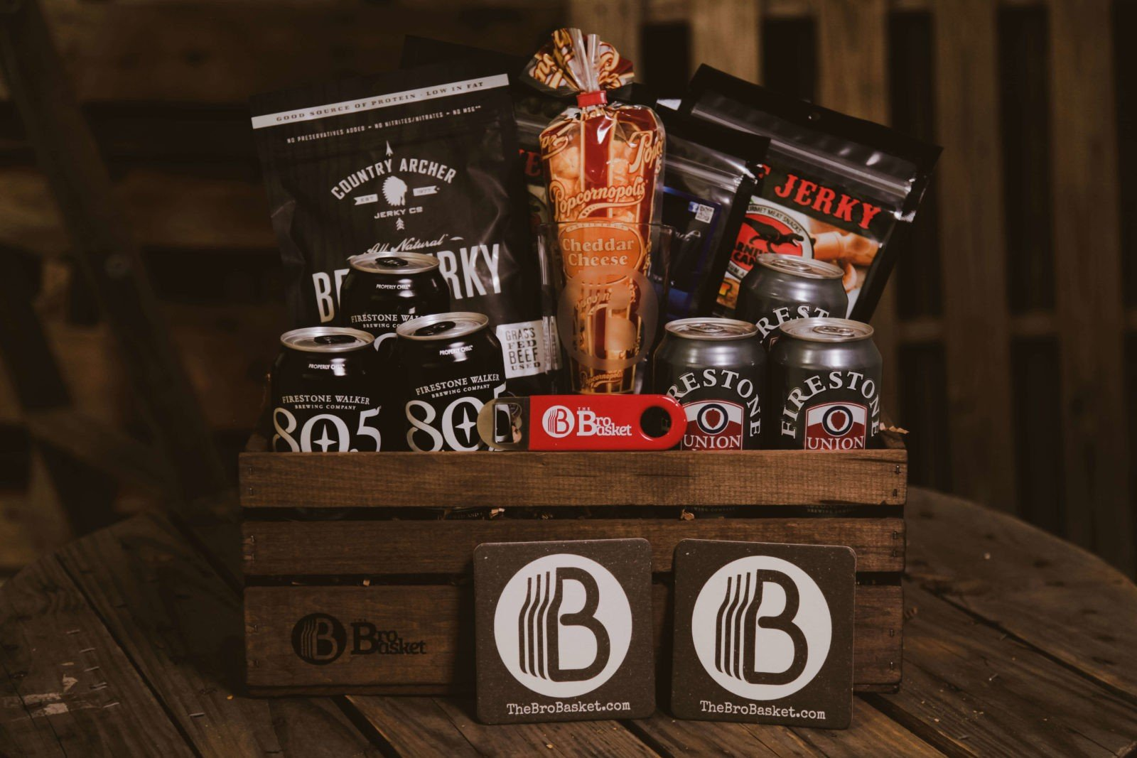 Awesome Beef Jerky Gift Basket   The Beer & Jerky Basket college care package guys