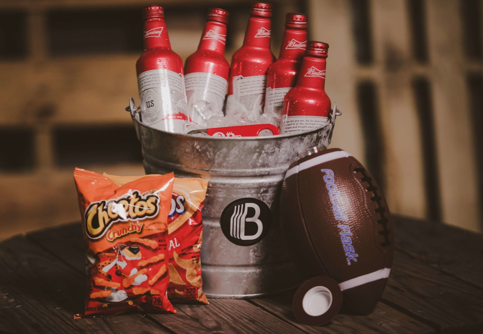 The Tailgate Bucket of Beer  Football Gift Basket with beer, snacks and football flask